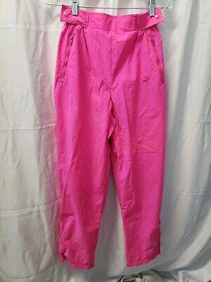 Rare VTG NIKE Sportswear Nylon Track Pants 80s women's L florescent pink