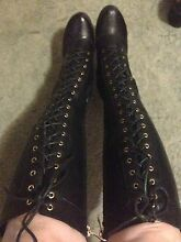 BLACK LACE UP BOOTS Hallam Casey Area Preview