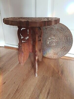 Antique Style Hand Carved Round Wood Table & Replacable Table Top: W-30x H-32cm