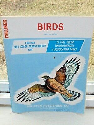 Vintage 1968 Milliken BIRDS Color Transparencies & Quiz Pages Educational Book