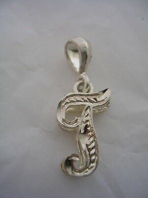LETTER T INITIAL PENDANT CHARM WITH A DIAMOND CUT FINISH IN STERLING SILVER Diamond Cut Initial Letter
