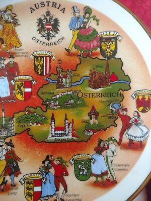 VTG Collector Plate Austria Osterreich City Crests Gold Edge Souvenir 1950-60