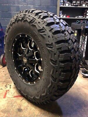 """18x9 Mayhem Warrior Wheels 35"""" MT Tires Package 5x5 Jeep Wrangler TJ JK JL"""