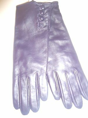 Ladies Women's 100% Cashmere Lined Genuine Leather Gloves, XLarge,Purple