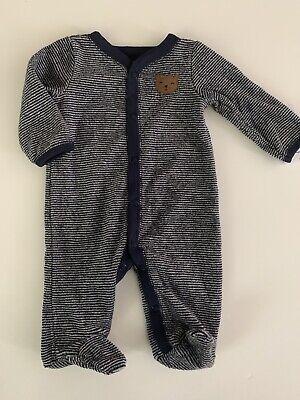 Carters Baby Boys Terry Sleeper Coverall Size Newborn 6 9 Months Navy Blue Bear