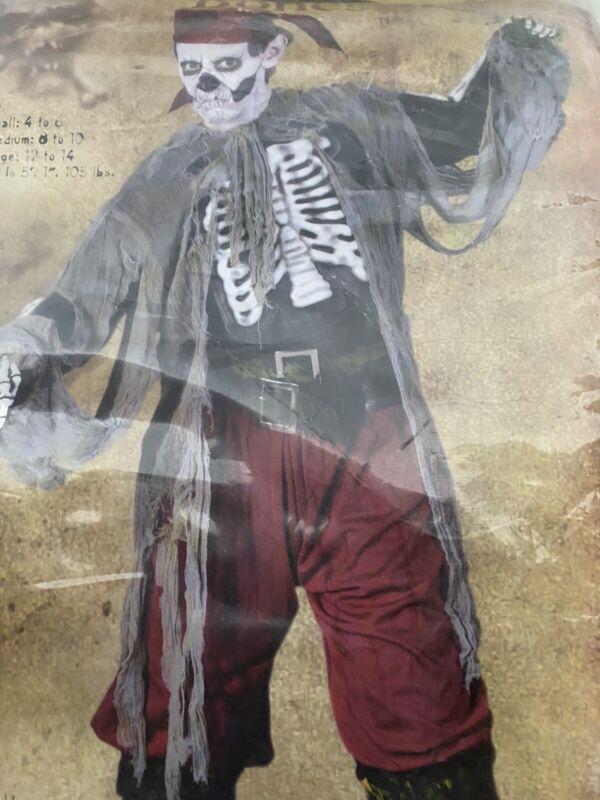 Buccaneer bones Pirate Skeleton Halloween Costume Youth size 4-6 Small  s
