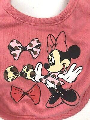 Disney Minnie Mouse Baby Bib Snap Closure Minnie And Hair Bows Design Coral Hair Baby Bib