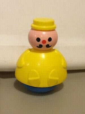 Vintage Fisher Price 3 Men in a Tub Roly Poly YELLOW MAN BUTCHER Weeble Wobble