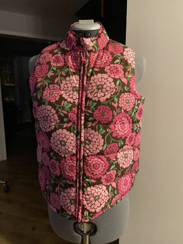 Lilly Pulitzer Girls Floral & Pink Reversible Puffer Vest - Size: 16