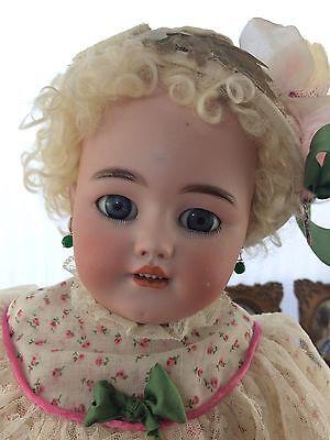 "Antique German Doll Simon & Halbig 1250 Bisque Head Leather Body 23"""