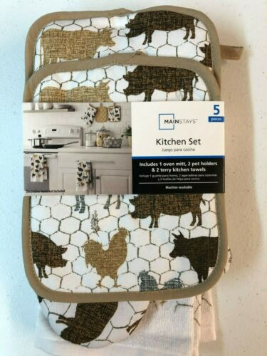 5 PC Kitchen Set  2  Towels 2 Holders  1 Mitt  PIGS CHICKENS Tossed Animals
