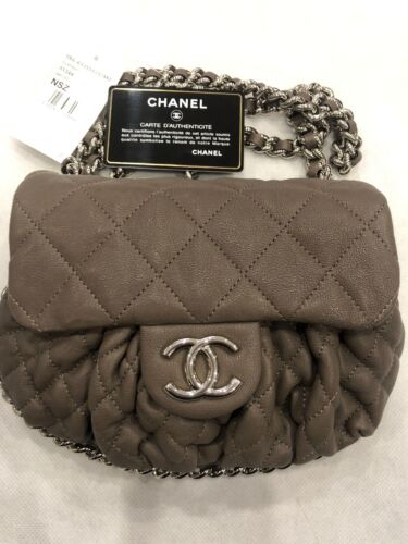 CHANEL Chain Around Flap Bag Quilted Leather Small Cross bodyBrownNEW