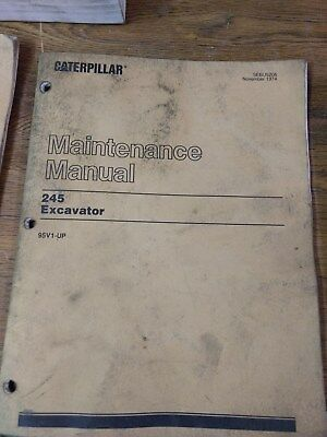 Cat Caterpillar 245 Excavator Maintenance Book Manual