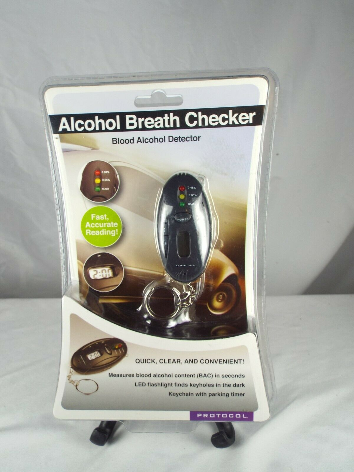 PROTOCOL Digital Keychain Blood Alcohol Breath Checker Detec