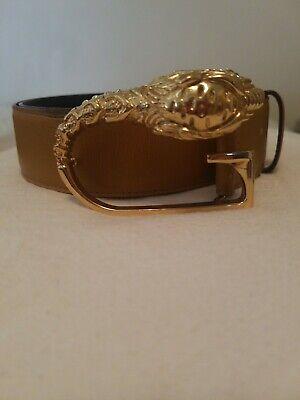 GUCCI GOLD LION HEAD G LOGO BUCKLE Vintage Leather Belt Womens