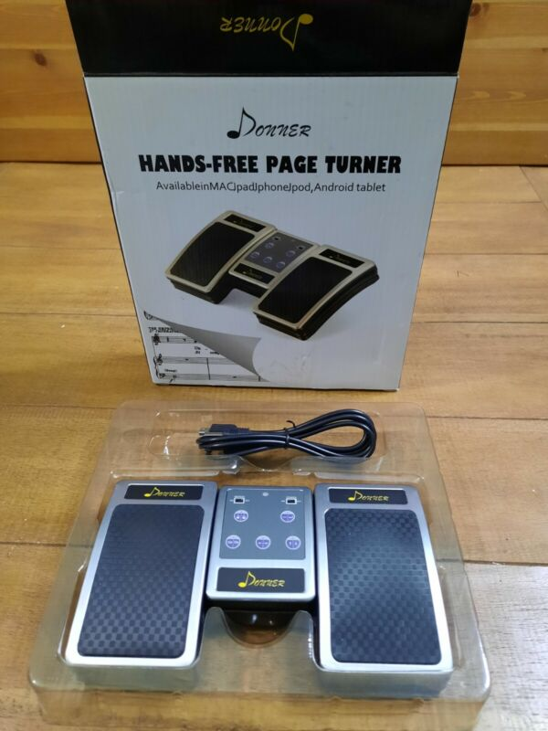 Donner Hands Free Music Wireless Pedal Tablet Page Turner Turn The Score - Black