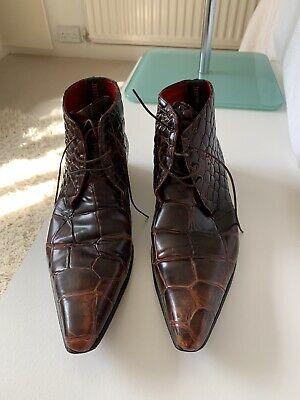 Jeffery West Brown Ox Blood Snake Crocodile Print Size 10 Uk Boots