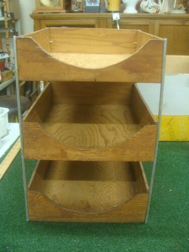 Vintage Three Tier Wood Desk Tray Organizer Office 1940s Files - Hedges?