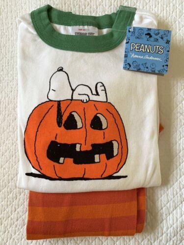 Hanna Andersson Peanuts Snoopy Pumpkin Halloween Long John Pajamas 130 8 NWT