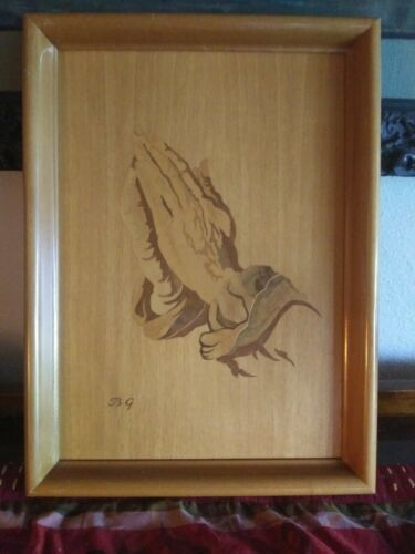 BG Buchschmid & Gretaux Vintage Marquetry Inlay Wood Wall Hanging Plaque