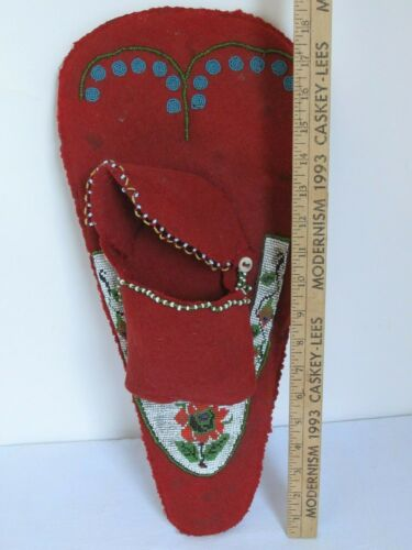 Antique Native American Red Trade Cloth and Beaded Doll Cradle Board