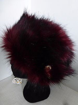 BNWT TED BAKER Mid Red Faux Fur Floral Lined Karah Hat   Gift Idea!!