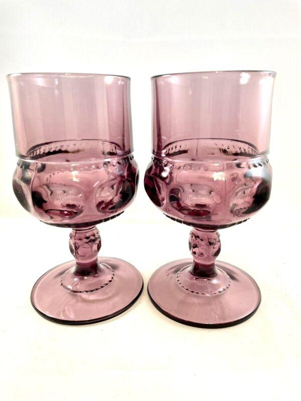 2 Indiana Kings Crown Wine Goblets Amethyst Purple Tiffin Plum Thumbprint