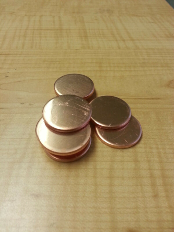 "1 1/4"" Dia. Copper Round Disc Blanks .125 1/8"" Thick (Lot of 10)"
