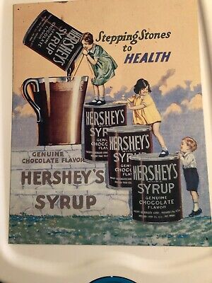 Vintage Replica Tin Metal Sign Hershey's Syrup Health Chocolate Hershey Candy