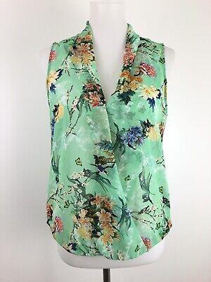 Zara Woman Tank Top Blouse Green Floral Semi Sheer Crossover High Low Medium