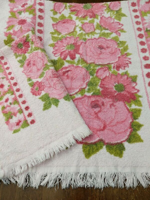 Dundee Vintage Towel Set PINK Floral Made In USA 70s