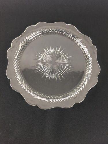 Tiffin Glass Scalloped Edge Cake Plate Laurel Leaf Band Starburst Center 1930