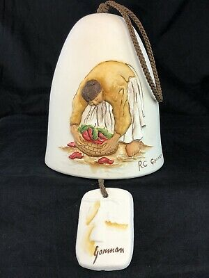 Vtg Native American RC Gorman Ceramic Bell Chime Gathering Chilies Navajo Woman