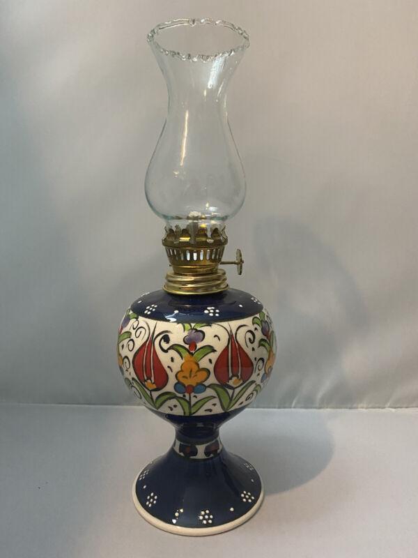 Ceramic Oil Lamp Light Blue