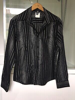 Versace Jeans Couture men's black and silver striped dress shirt, size M,vgc,