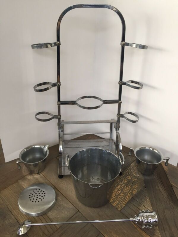 VINTAGE CHROME STAND BAR SET