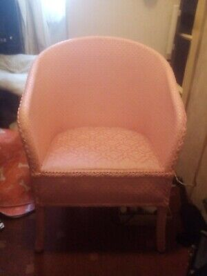 Lloyd Loom Style Pink Armchair