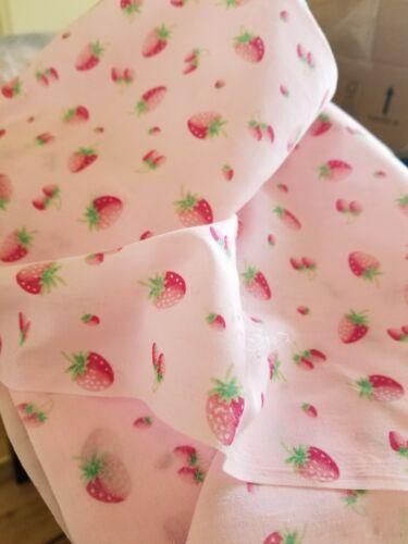 Vintage Strawberry Print Cotton Fabric~Vintage Semi Sheer Cotton