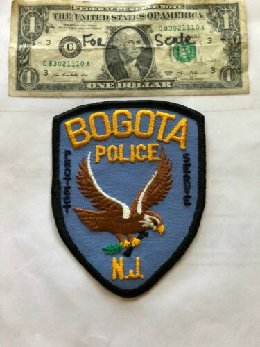 Bogota New Jersey Police Patch un-sewn in Great Shape