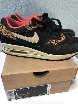 51d68a2a4927 Nike Womens Air Max 1 Sz 7 Black Leopard Animal Print 319986-026 Authentic