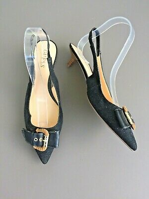 Guess Pointed Shoes Size 6 39 Buckle Small Kitten Heel Slingback Evening Party  Buckle Kitten Heel