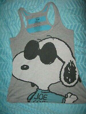 Peanuts Snoopy Razorback Tank Top Shirt Gray Teal Striped Juniors Womens Sz S M Gray Tank Top Shirt
