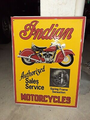 c.1950s Vintage Indian Motorcycles Sign ORIGINAL Sales And Service Dealer Stout