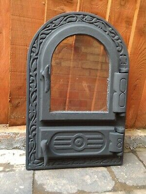 Cast Iron Door with glass 32.5 x 49 cm - bread oven , smoke house , pizza stove