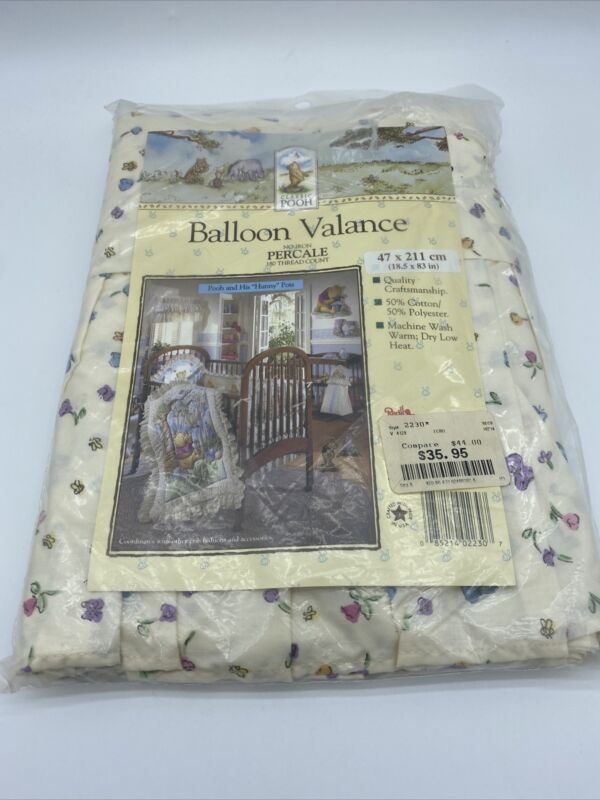 Vintage Disney Classic Pooh Honey Pots Balloon Valance Curtain, USA - NOS