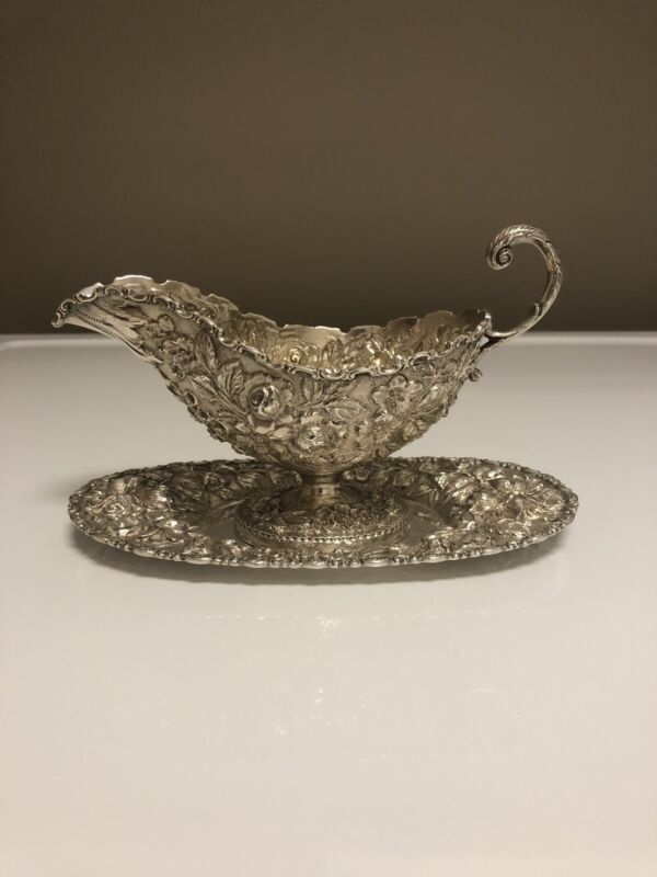 Schofield Baltimore Rose Sterling Gravy/sauce Boat And Tray
