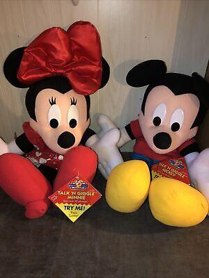 "Vintage Disney Talk 'N Giggle Minnie & Mickey Mouse Plush Mattel 31"""