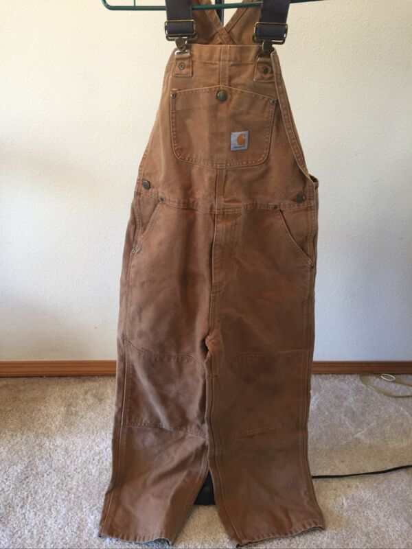 Carhartt Duck Washed Brown Bib Overalls Size Youth Kids-Size 12