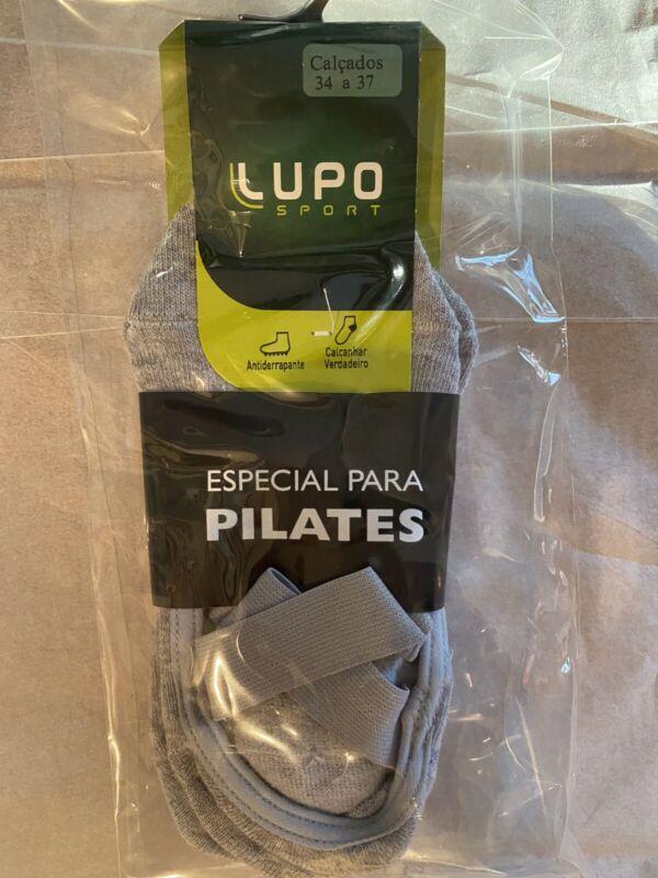LUPO WOMEN'S ESSENTIAL NO SLIP CROSSOVER YOGA PILATES BARRE SOCKS GRAY MED 4.5-8