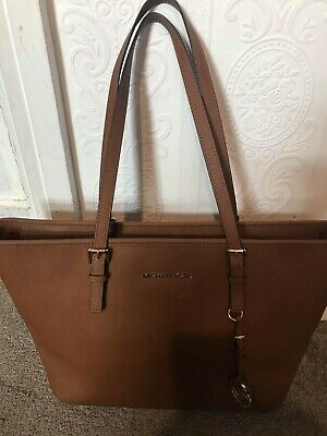 Genuine Michael Kors Jet Set East/West Leather Tote Bag, Brown mint condition